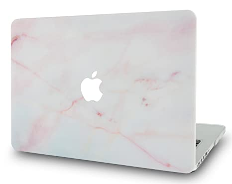 reputable site c34cc 7839f LuvCase Rubberized Plastic Hard Shell Case Cover Compatible MacBook Air 13  Inch A1466 / A1369 (No Touch ID) (Pink Marble)