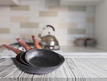 Sartenes Cloen. Set de 3 sartenes de aluminio con revestimiento de mármol y mango suave de baquelita efecto madera, Medidas 20-24-28 cm. SET LAURA by ...
