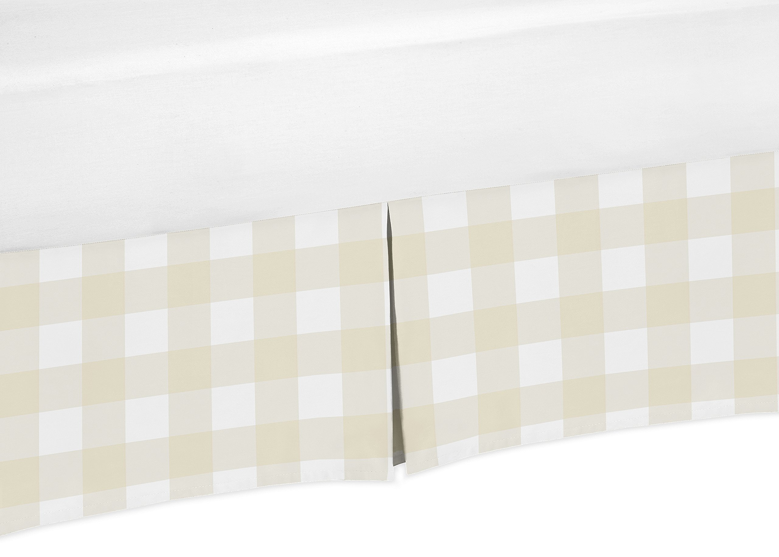 Sweet JoJo Designs Beige and White Buffalo Plaid Check Pleated Toddler Bed Skirt Dust Ruffle for Woodland Camo Collection