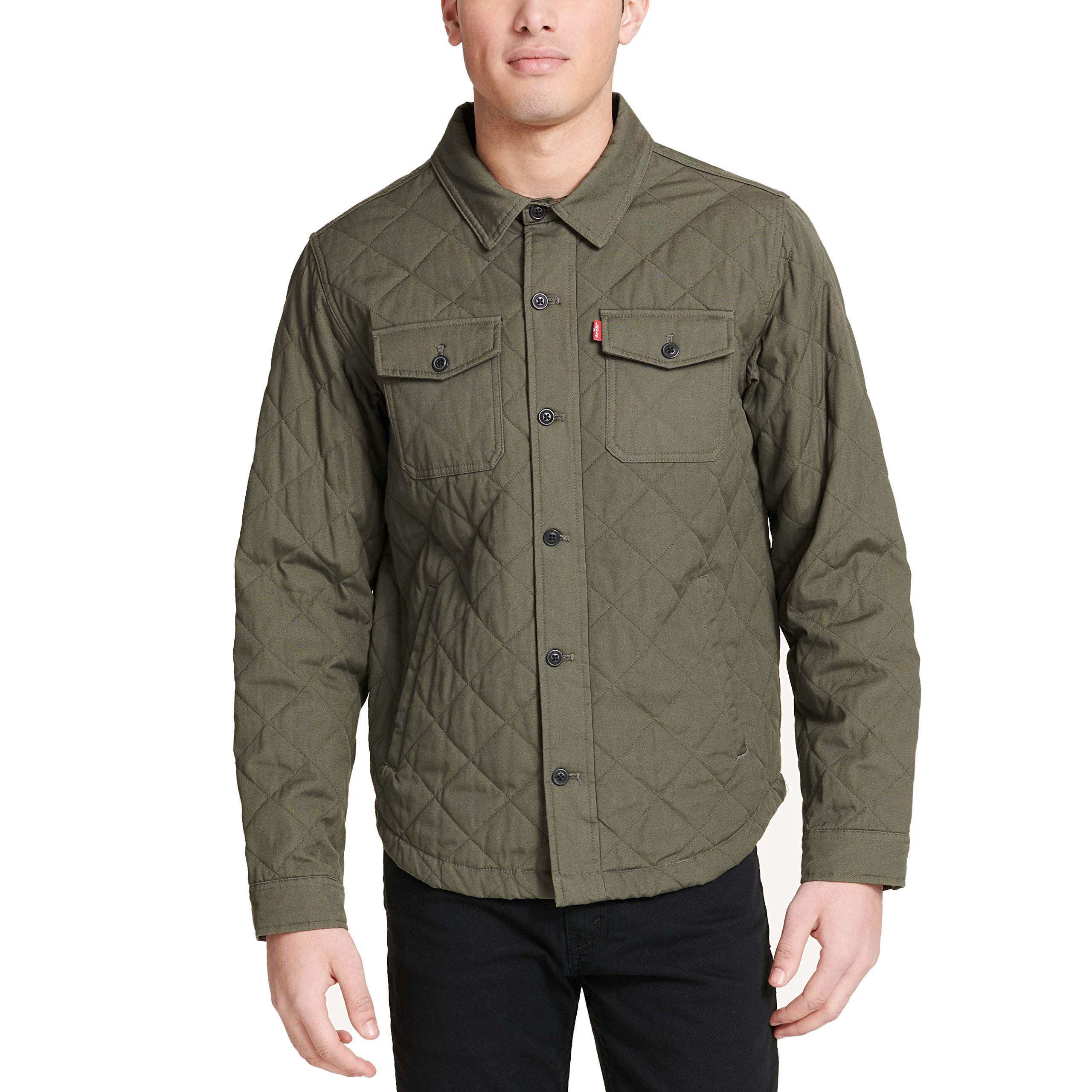 Levi's Men's Cotton Diamond Quilted Shirt Jacket, Army Green, Large by Levi's
