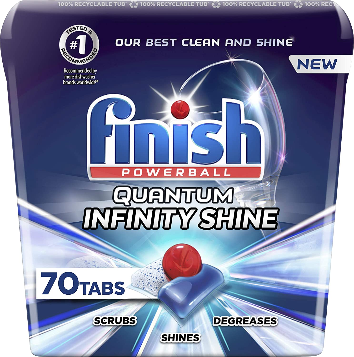Finish Quantum Infinity Shine - 70 Count - Dishwasher Detergent - Powerball - Our Best Ever Clean and Shine - Dishwashing Tablets - Dish Tabs