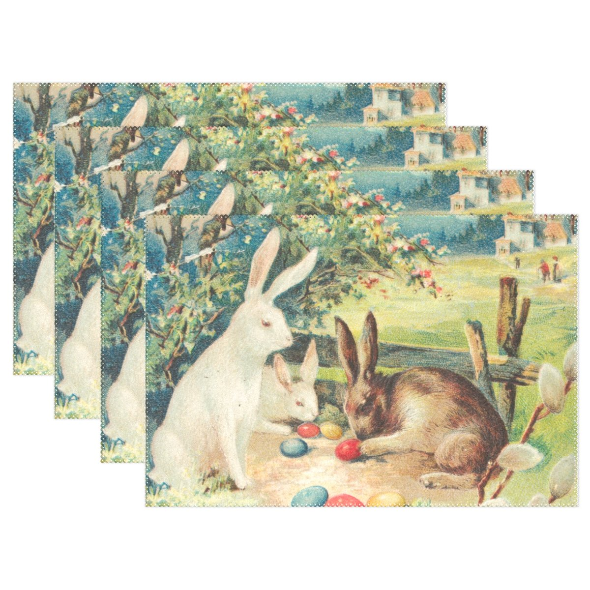 (4, Multicolor) - Naanle Easter Holiday Placemats Set of 4, Rabbit Bunny Eggs Heat-resistant Washable Table Place Mats for Kitchen Dining Table Home Decoration   B07B46J4Y2
