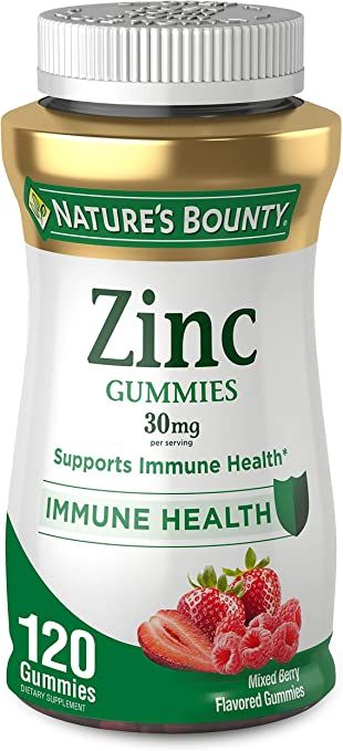 Zinc Gummy by Nature's Bounty, Immune Support, Mixed Berry, 30 mg, 120 count Gummy