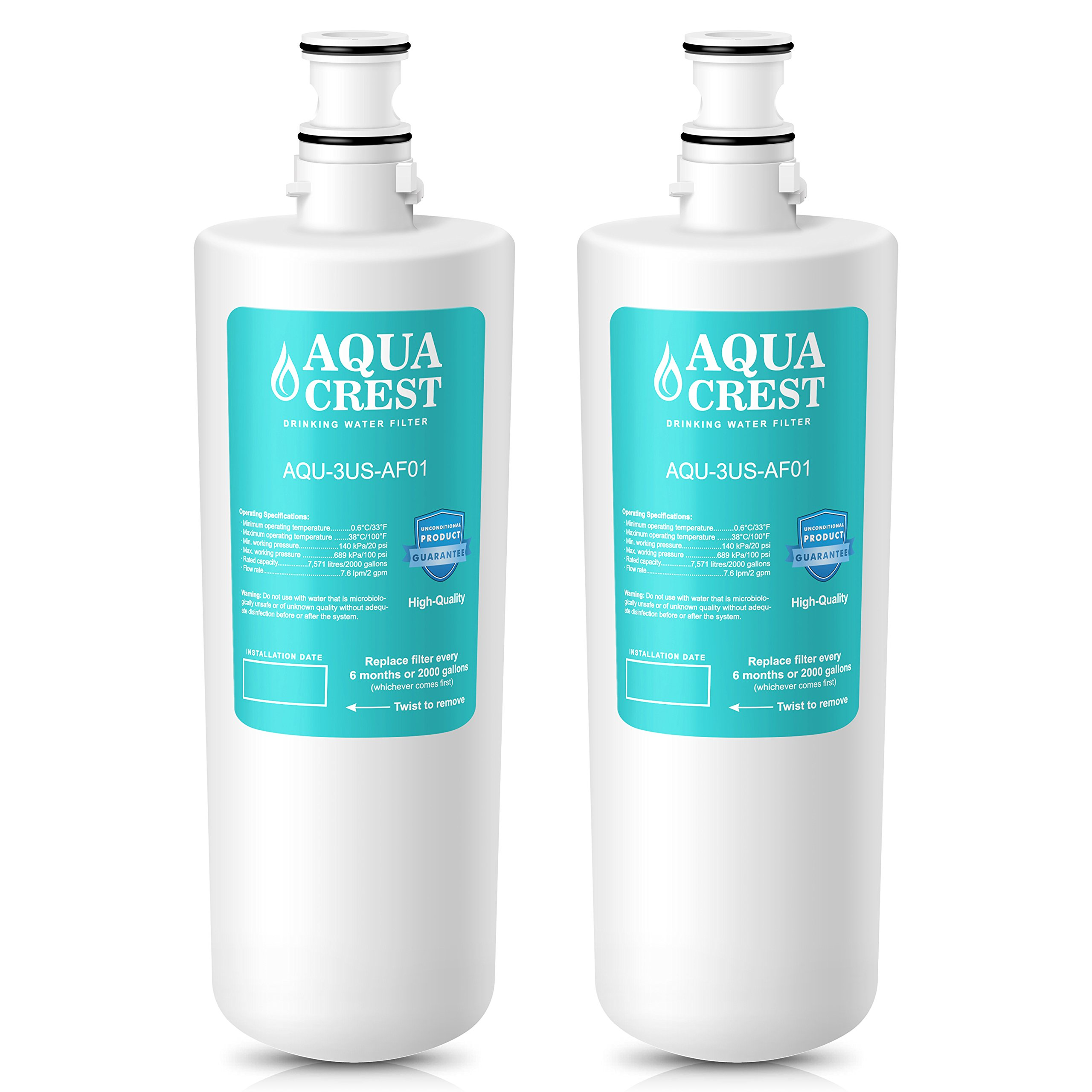 AQUACREST 3US-AF01 Replacement Under Sink Water Filter, Compatible with Standard Filtrete 3US-AF01, 3US-AS01, Whirlpool WHCF-SRC, WHCF-SUFC, WHCF-SUF Water Filter (Pack of 2)