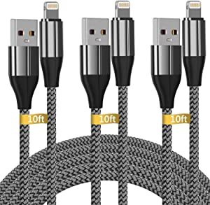 iPhone Charger 10 ft,3 Pack Lightning Cable & Data Sync Fast 10 Foot Nylon Braided Cord Compatible with iPhone Xs max/xr/x/8/8 Plus/7/7plus/6/6s Plus/5s/5,iPad(Silver)