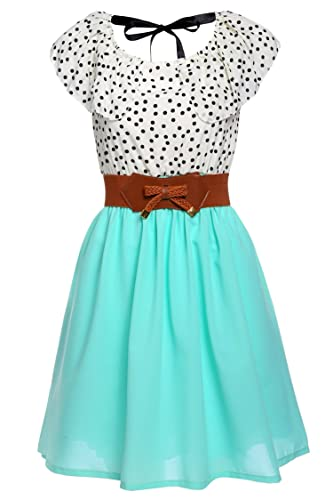 Zeagoo Women's Fashion High Waist Casual Dots Short Dress with Belt