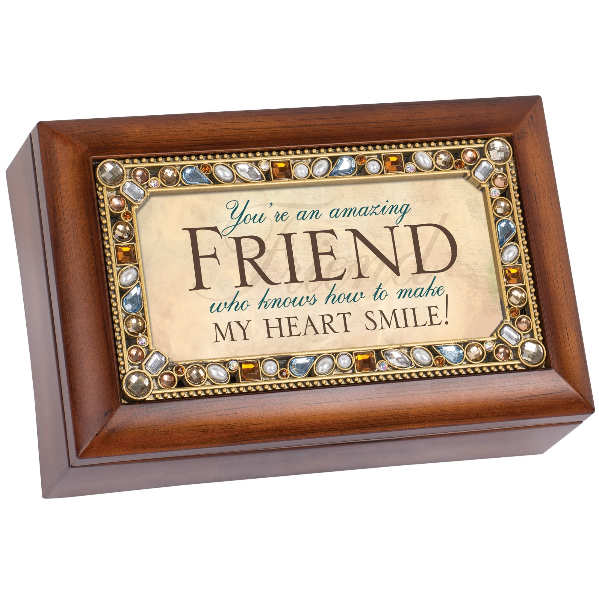 Cottage Garden Friend Jeweled Woodgrain Jewelry Music Box - Plays Tune Thats What Friends Are For by Cottage Garden (Image #1)