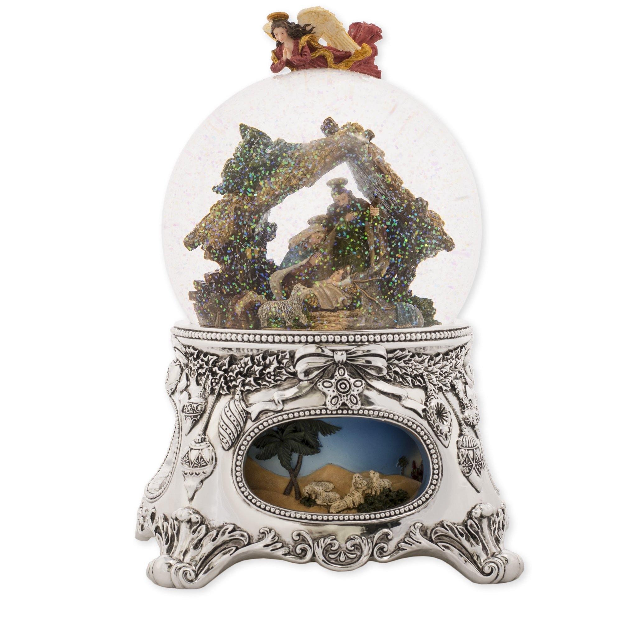 MusicBox Kingdom 56059 - Snow Globe ''Crib'' with The Melody ''Silent Night''
