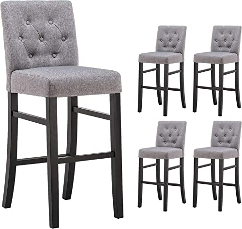 YEEFY 30″ Button-Tufted Fabric Barstools Dining High Bar Height Side Chair