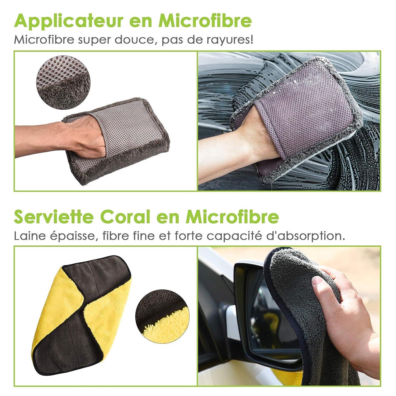 Applicateur Microfibre HAWKFORCE 9 PCS Kit dOutils de Lavage de Voiture Kit de Lavage de Voiture de Voiture avec Bo/îte Rangement Lingettes Microfibre Brosse Roue Plumeau Raclette Brosse Pneu