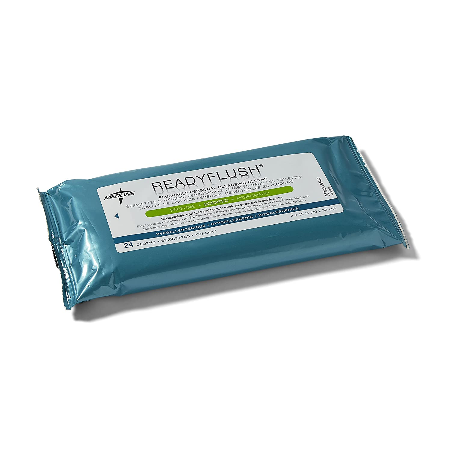 Amazon.com: Medline MSC263810 ReadyFlush Biodegradable Flushable Wipes (Case of 24): Industrial & Scientific