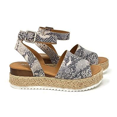 e34da446cd4 Amazon.com | SODA Topic Women's Open Toe Ankle Strap Espadrille ...