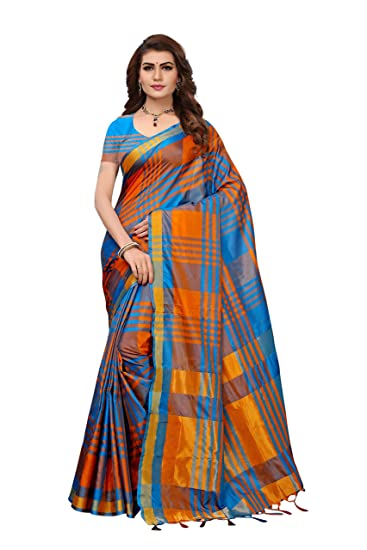 8616fca9de3054 ANNI DESIGNER Cotton Silk Saree with Blouse Piece (Pack of 2) (E Kart Orange