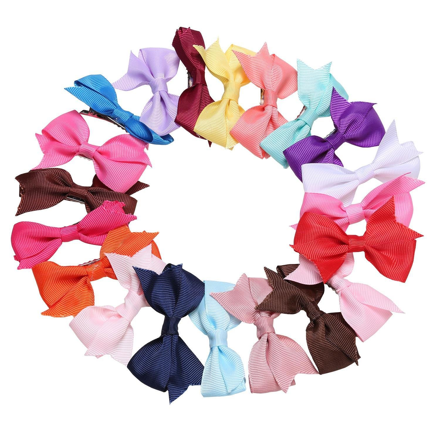 Ruior 20 Colors New Alligator Clips Girls Bow Ribbon Kids Sides Accessories Hair Clip Hair Accessories