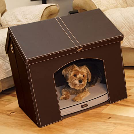 Pet Haven Brown Indoor Dog House Indoor Cat House With Memory Foam Dog Bed And Attic Storage Small Dog Or Cat 21 Pet Supplies