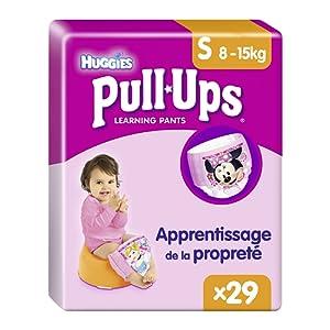 Huggies Pull-Ups Fille Taille 4/Small (8-15 kg), Couche-culotte d'Apprentissage de la Propreté Disney Princesses x29 Culottes