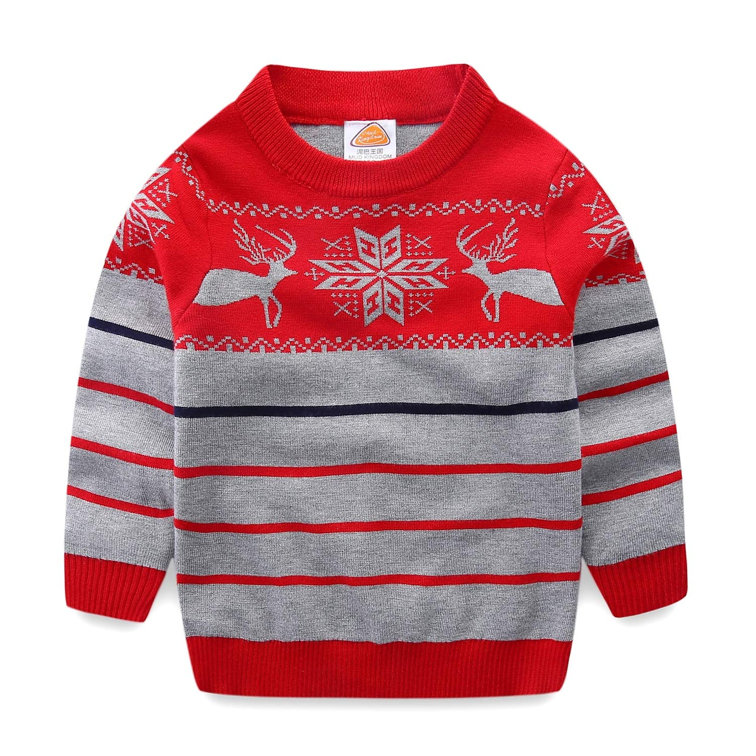 Mud Kingdom Boys Sweaters Christmas Reindeer Stripe