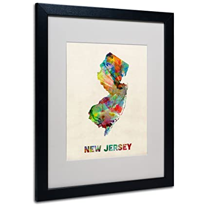 Amazon.com: New Jersey Map Matted Framed Art by Michael Tompsett in ...