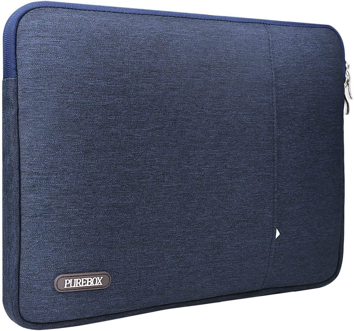 PUREBOX 13.3-14 Inch Laptop Sleeve with Extra Case for Charger and Accessories for Macbook Air Dell ASUS Lenovo HP Acer TOSHIBA Samsung Carrying Case Bag Cover Shock-proof Spill-Resistant Navy Blue