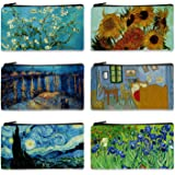 "FM FM42 Van Gogh Paintings 6PCS Small Canvas Bag with Inner Lining Black Zipper 18cm10.5cm(7""4"") Storage Pouch CA1001"