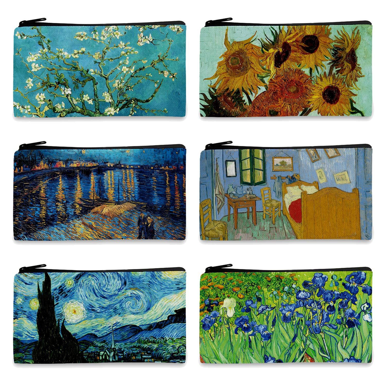 FM FM42 Van Gogh Paintings 6PCS Small Canvas Bag with Inner Lining Black Zipper 18cm10.5cm(7''4'') Storage Pouch CA1001 by FM FM42