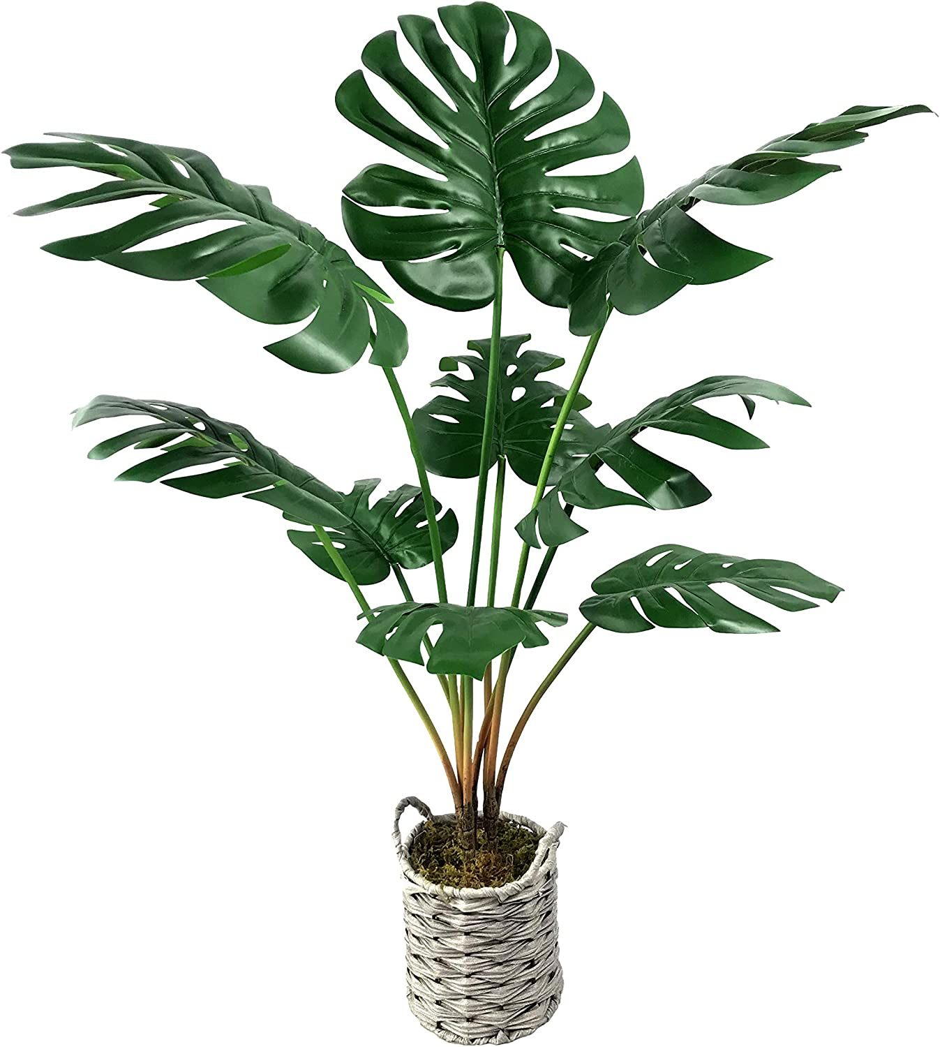 Fake Monstera Plants Artificial Tree in Grey Woven Basket 34 inches High Gift -1 Pack