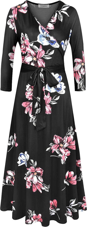 Melynnco Women's 3/4 Sleeve Faux Wrap V Neck Vintage Floral Summer Maxi Dress