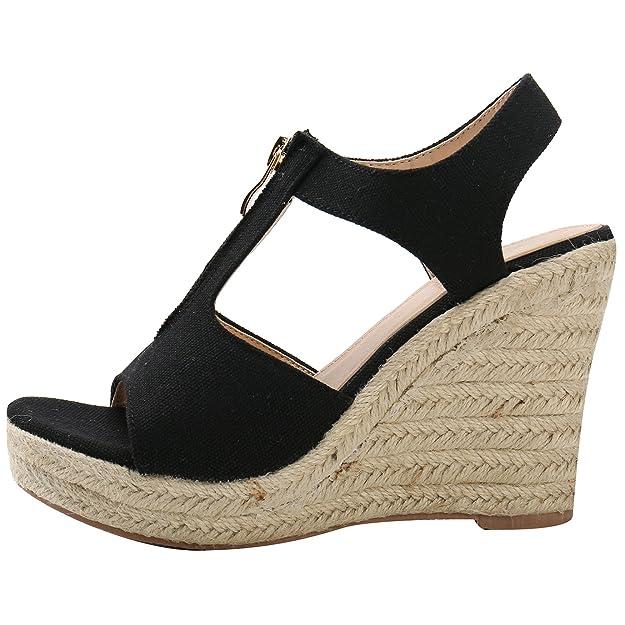 Alexis Leroy Women T-Strap Buckle Open Toe Espadrille Wedge Sandals:  Amazon.co.uk: Shoes & Bags
