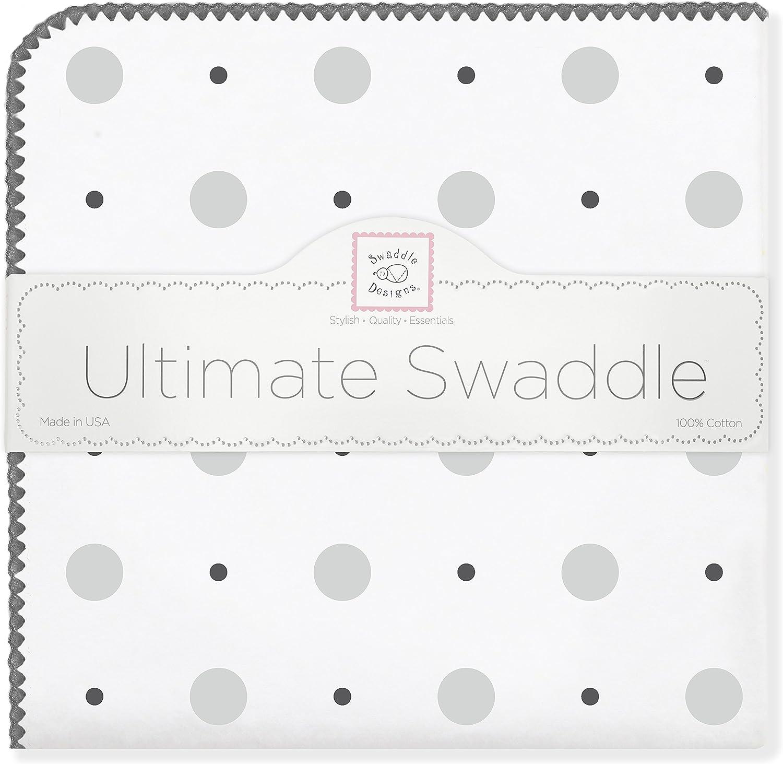 SwaddleDesigns Manta Envolvente Ultimate Plata Puntos grandes puntos chicos Franela de Algod/ón de calidad superior