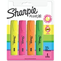 Sharpie Fluo XL Highlighter, Chisel Tip, Assorted Colours, Pack of 4