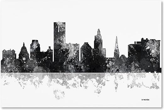 Amazon Com Providence Rhode Island Skyline Bg 1 By Marlene Watson 16x24 Inch Canvas Wall Art Posters Prints
