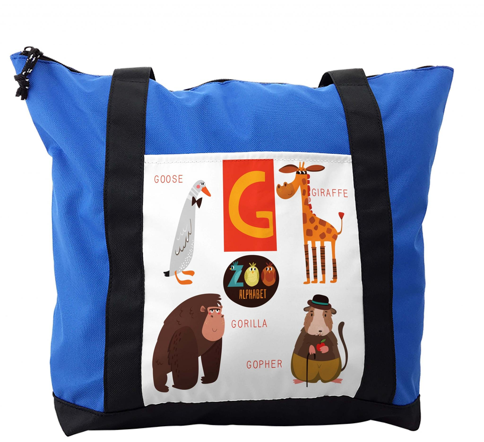Lunarable ABC Kids Shoulder Bag, African Safari Characters, Durable with Zipper