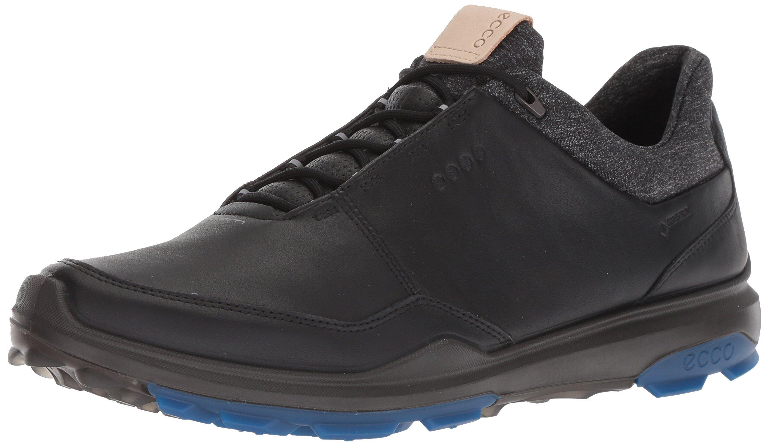 ECCO Men's Biom Hybrid 3 Gore-Tex Golf Shoe, Black/Bermuda Blue Yak Leather, 8 M US by ECCO