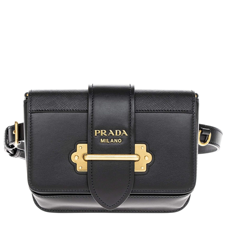 dfc1856c91 Amazon.com  Prada Black Cahier Calf Leather Belt Bag with Chain Shoulder  Strap  TheLuxuryClub