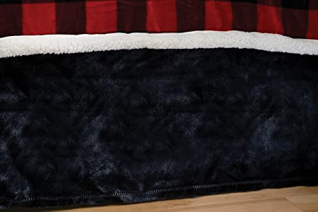 Carstens Lumberjack Plaid Plush Black Bed Skirt, Queen