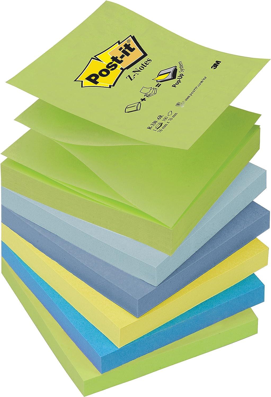 Post-it Pack 6 Blocs Notes Z-Notes Colores Fantasía verde pastel ...