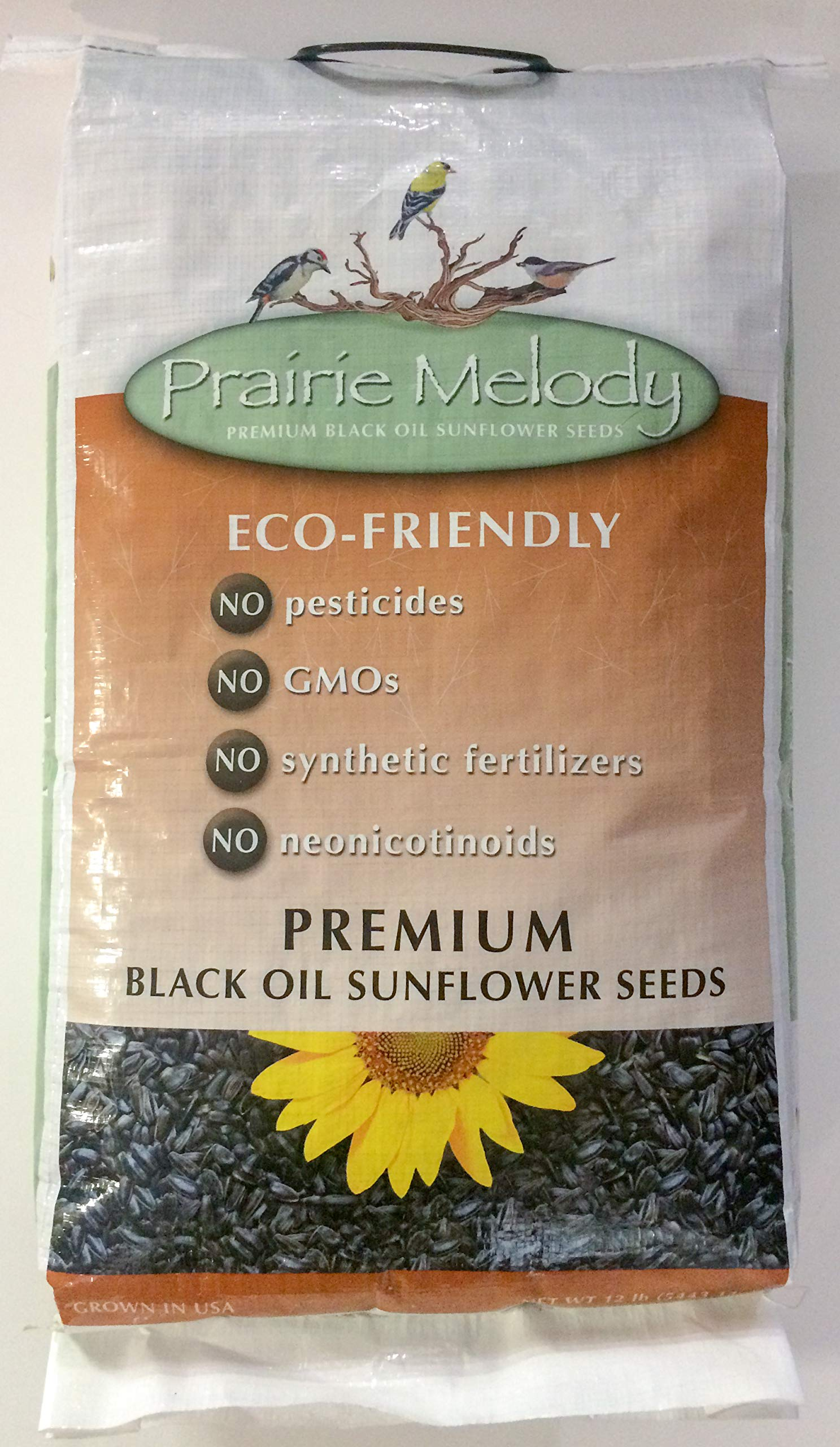 Prairie Melody(TM) Premium Black Oil Sunflower Bird Seed, Pesticide Free, 12-Pound Bag