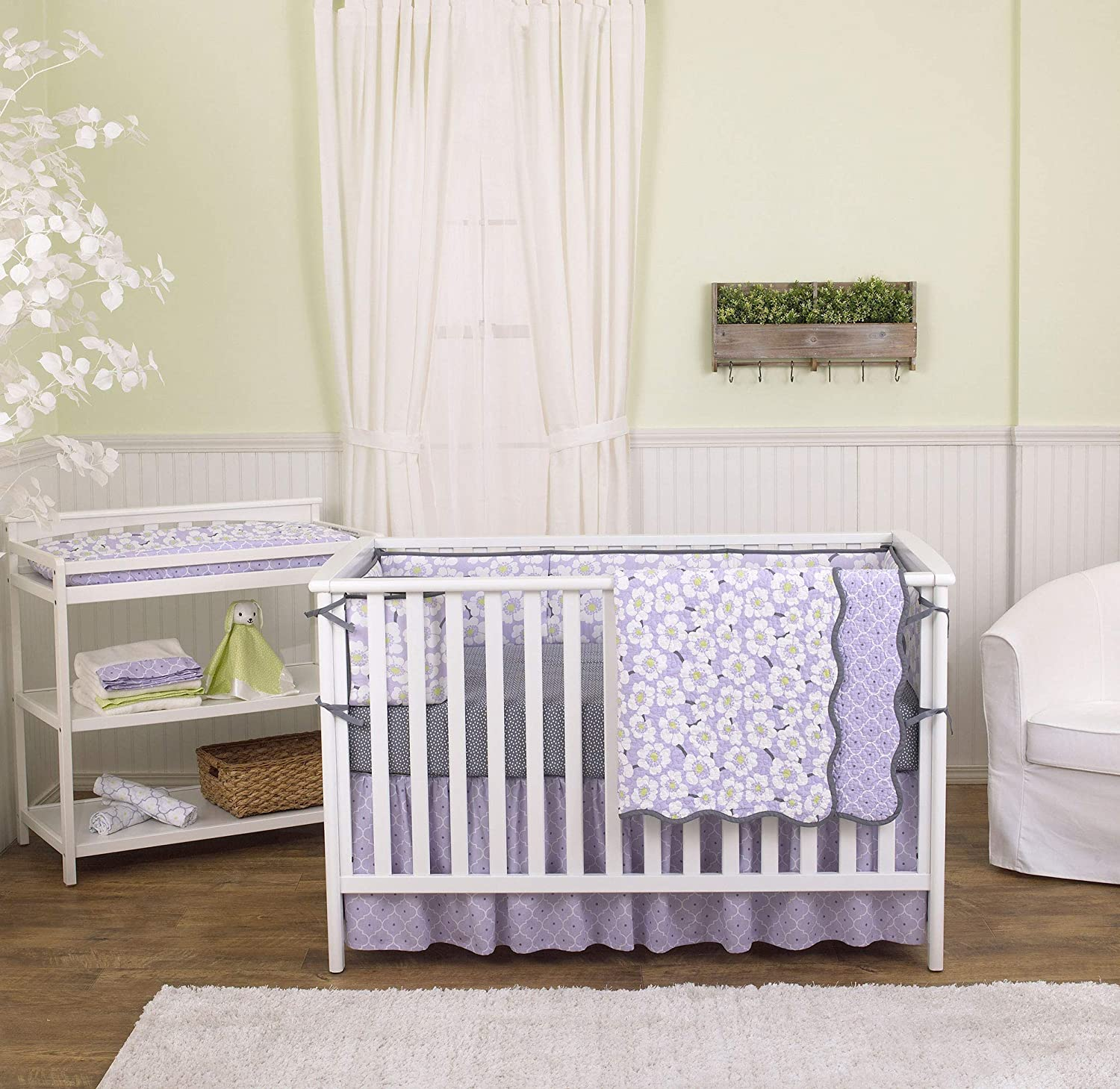 Lavender Poppy Floral 5 Piece Crib Bedding Set with Bumper by Balboa Baby by Balboa Baby   B07MTQJ74X