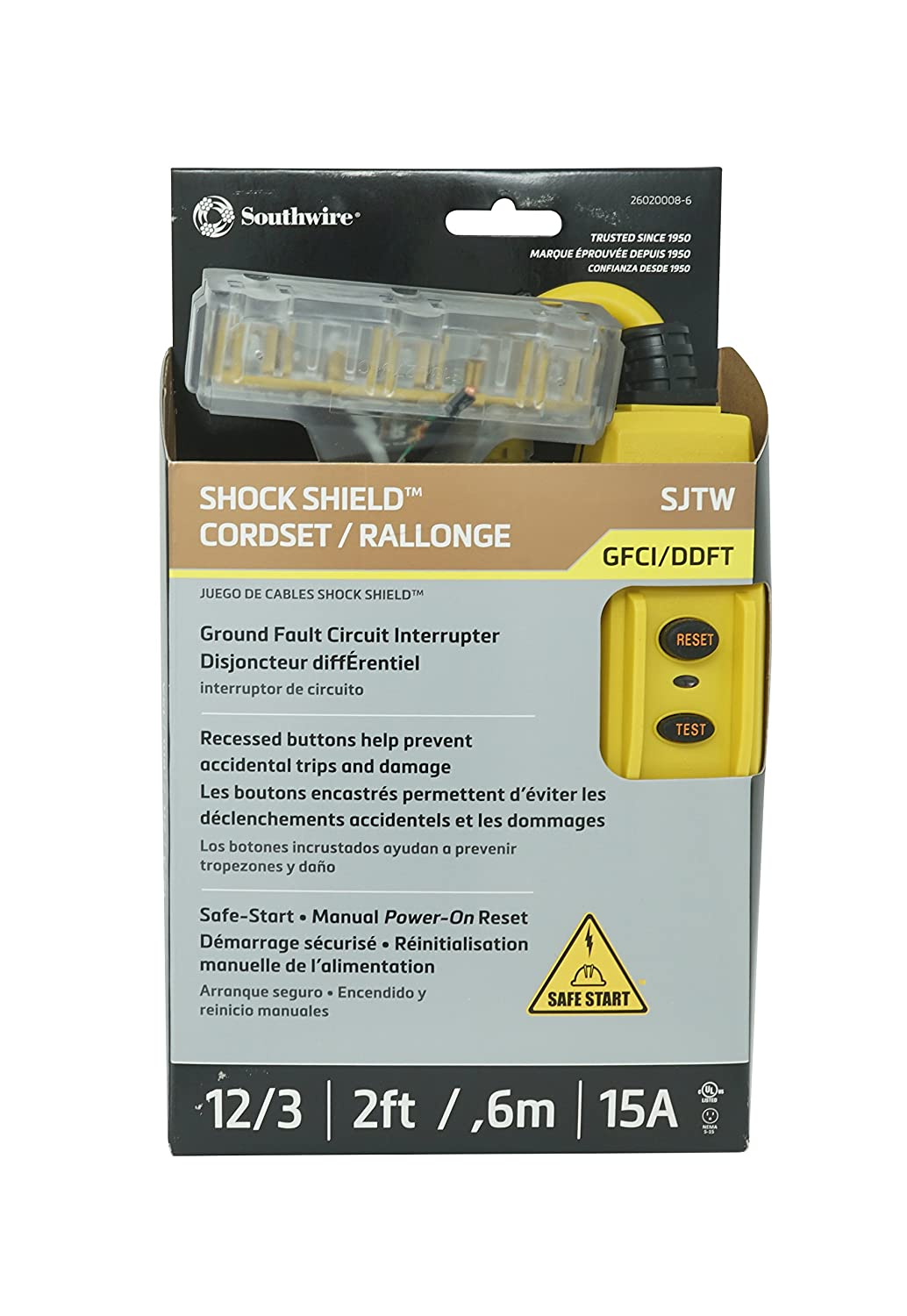 Trc 26020008 6 12 3 Gauge Shockshield Gfci Protected In Line Tri Portable Ground Fault Circuit Interrupte Cord Set With Outlets 2 Feet 15 Amp Yellow Extension Cords