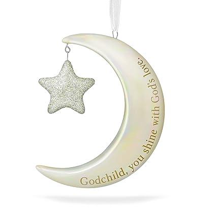 hallmark keepsake 2017 godchild you shine moon and stars porcelain dated christmas ornament