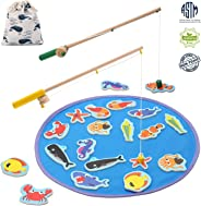 TEPSMIGO Magnetic Wooden Fishing Pole Game for Kids, Educational Go Fish Gaming Gift Toy with 20 Ocean Animals and 2 Rods fo
