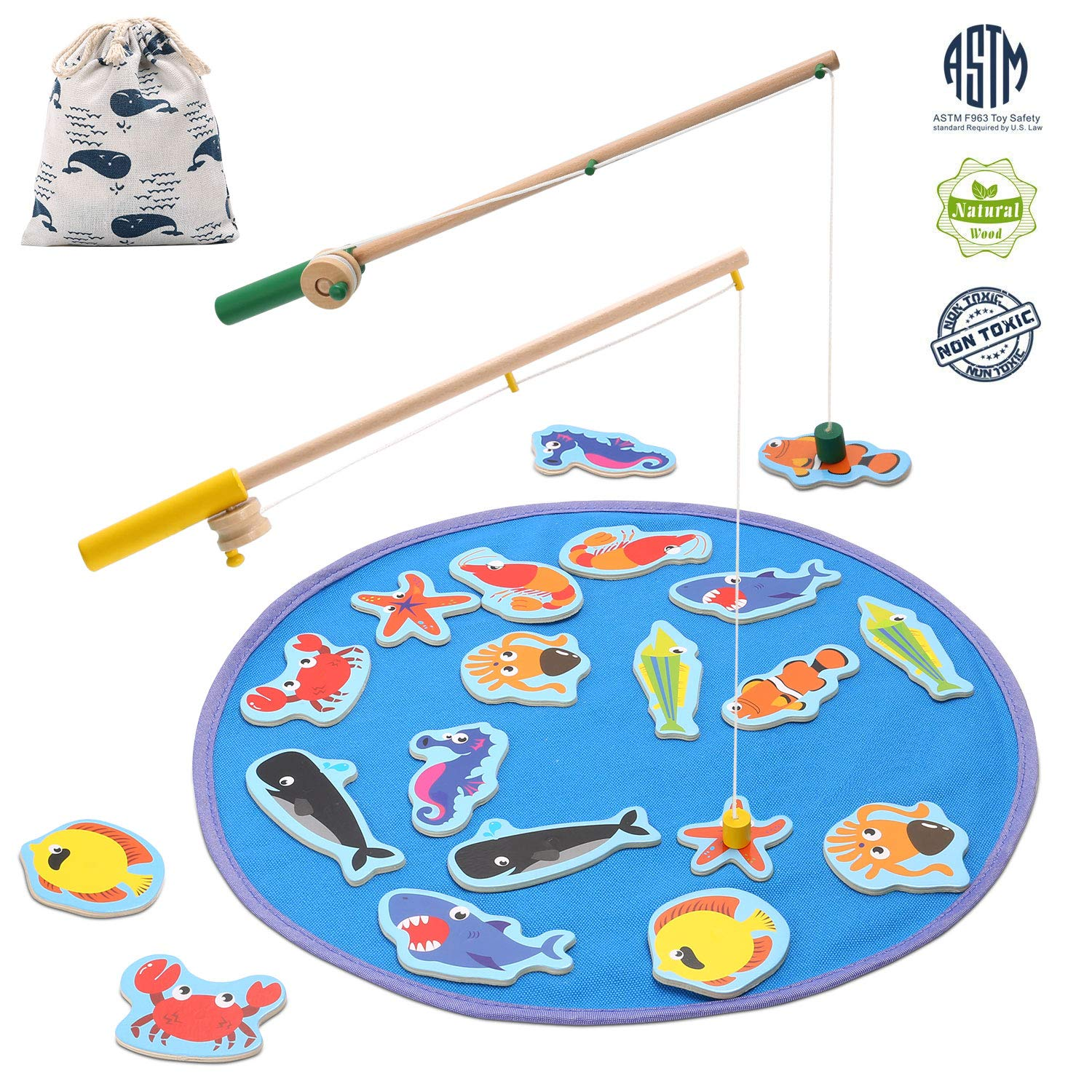 TEPSMIGO Magnetic Wooden Fishing Pole Game for Kids, Educational Go Fish Gaming Gift Toy with 20 Ocean Animals and 2 Rods for Toddler Boys Girls Age 3+