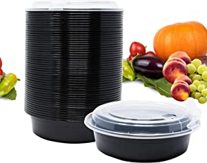 Whale Family, Meal Prep Containers - Reusable Plastic Containers with Vented Lids - Patent Protected Design - BPA-Free Food Bowls - Plastic Storage Containers - Microwave Safe (Black, 24 oz, 150-Pack)