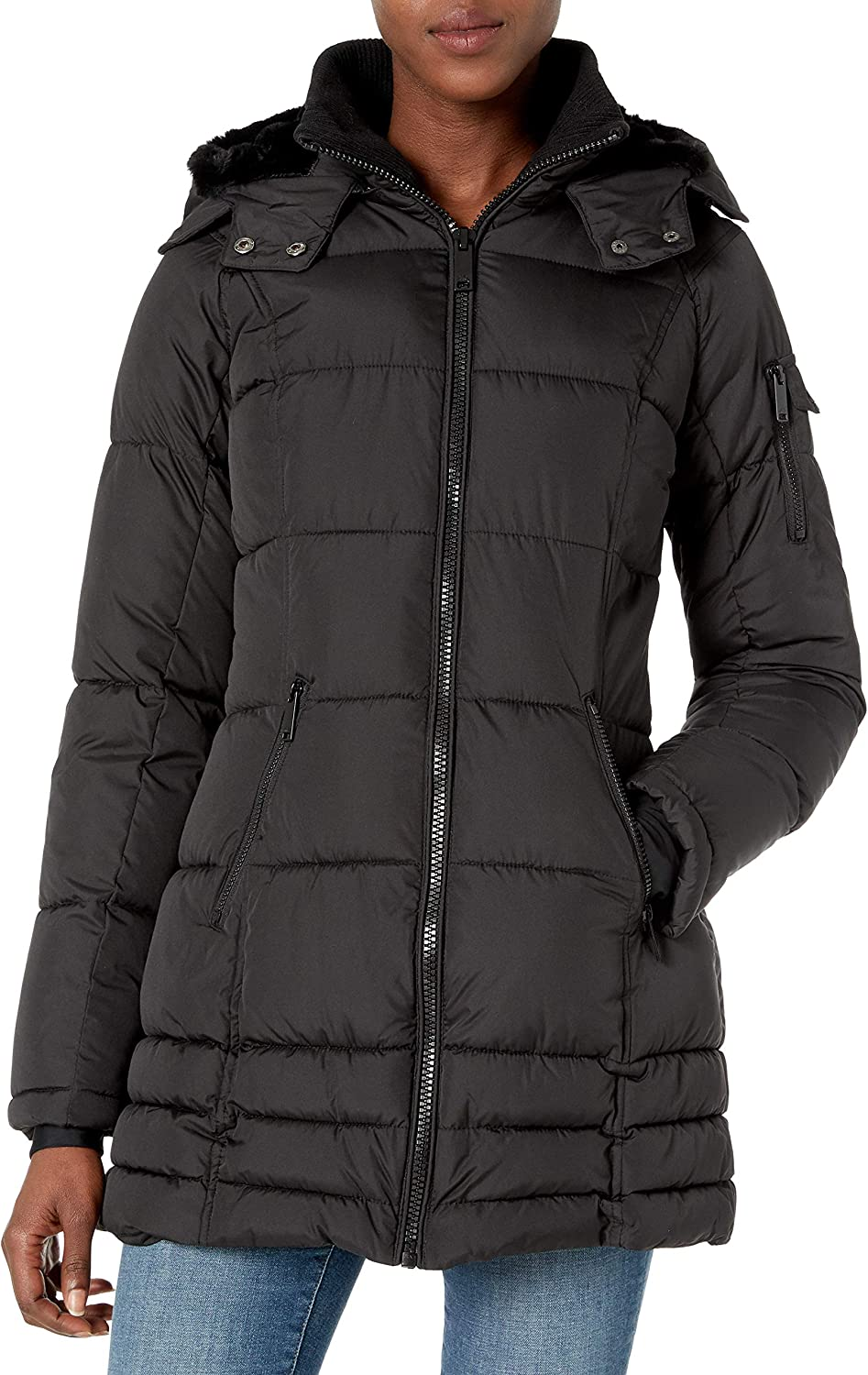 HFX Womens 3//4 Puffer with Full Faux Fur Hood