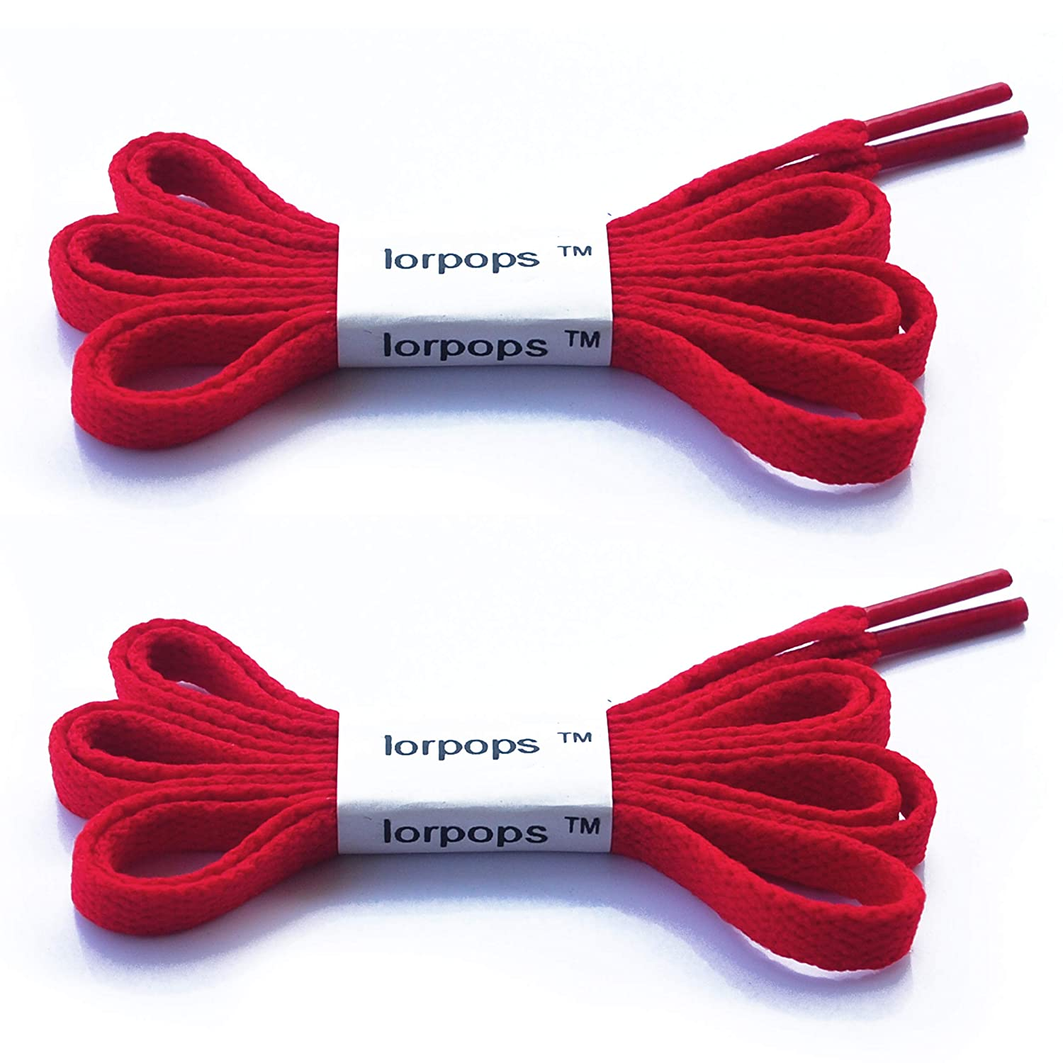 lorpops Flat Shoelaces 5/16 inches Wide(2 Pairs) - for Sneakers and Converse Shoelaces Replacements
