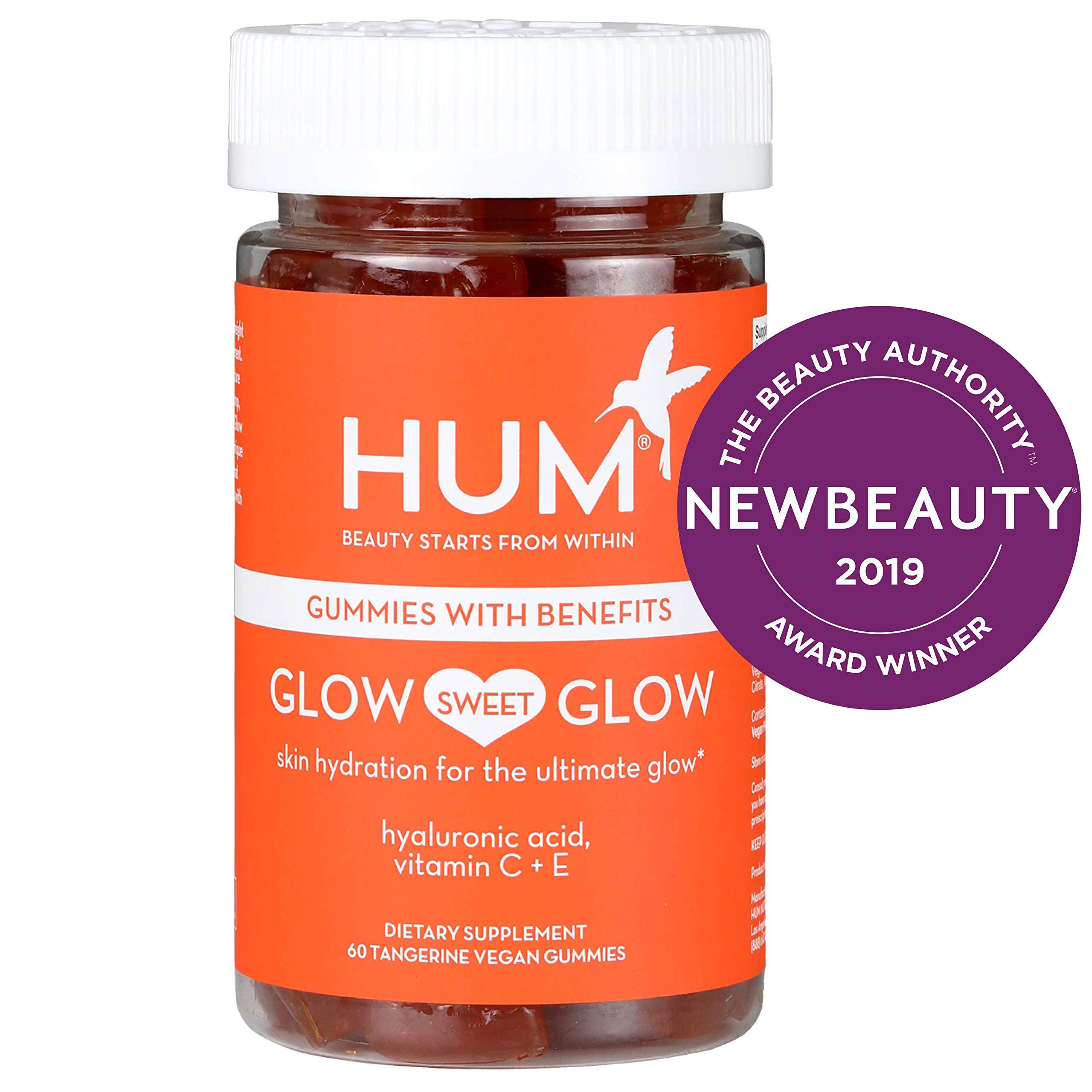 HUM Glow Sweet Glow - Vegan Skin Hydration Gummy Hearts with Hyaluronic Acid (60 Tangerine Flavored Gummies) by HUM