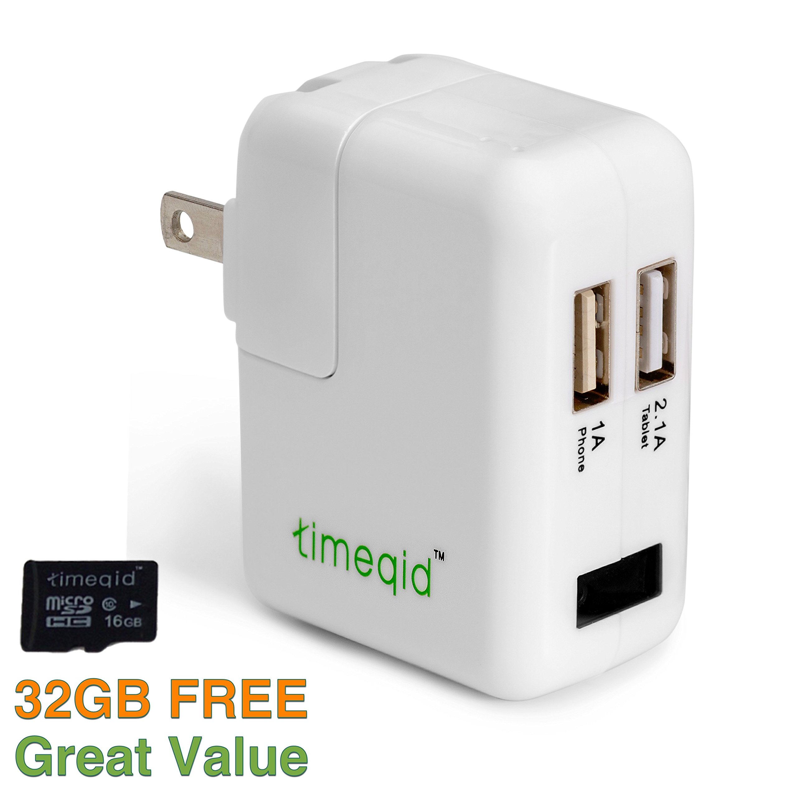 Hidden Camera Charger by Timeqid | Free Memory Card Included - With/Without WiFi - Double Charging Ports - Full HD 1080p - Nanny Camera - White