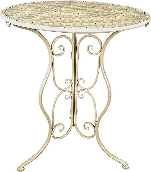 Chester mesa de hierro forjado en color crema: Amazon.es: Hogar