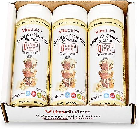 Sirope de chocolate blanco sin azúcar, Topping de chocolate blanco, Sirope bajo en calorías 400gr. Pack de 3 unidades- Vitadulce