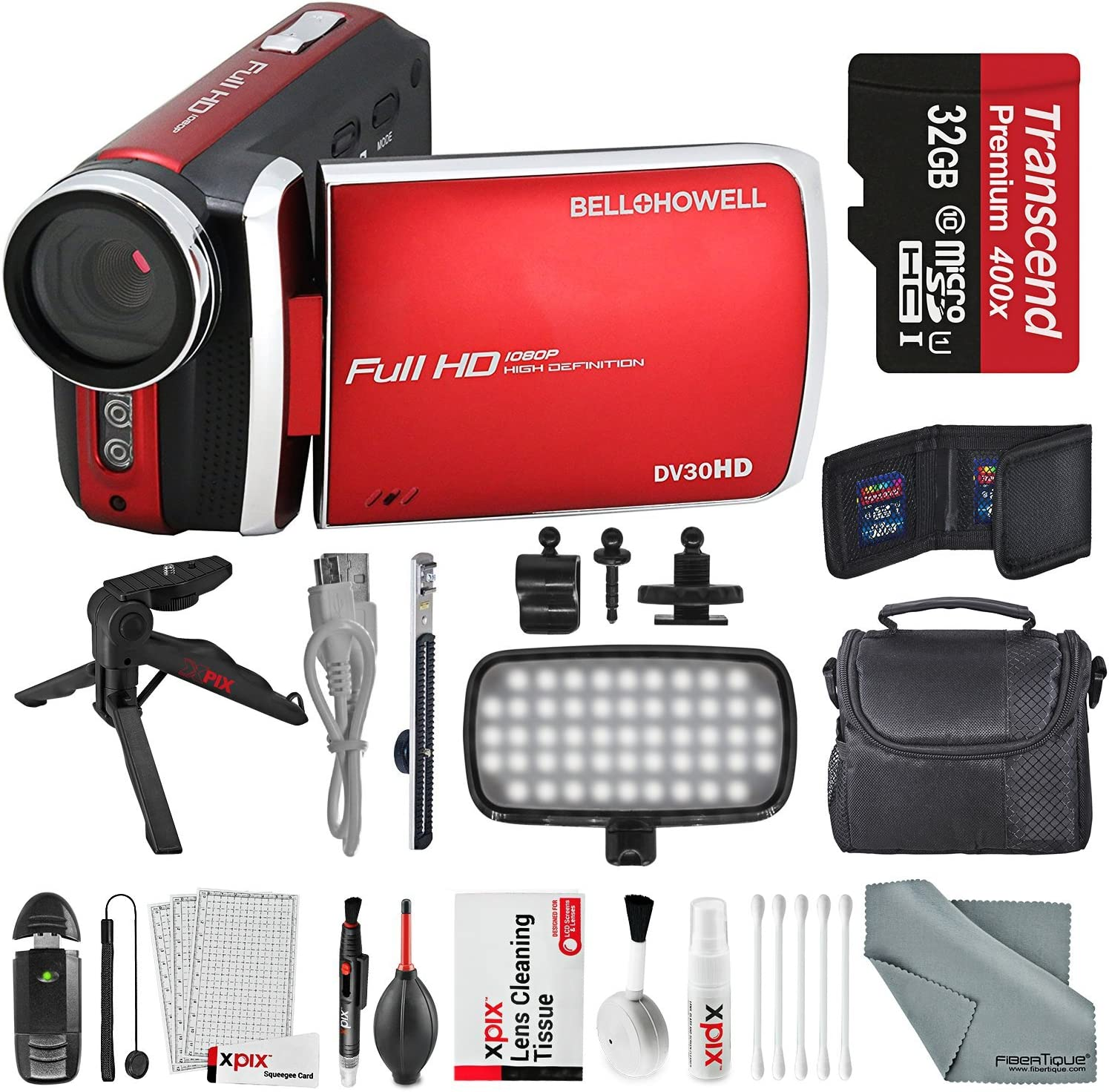 Bell & Howell DV30HD 1080p HD Video Camera Camcorder (Red) + Case, LED Light, Tripod, 32GB Memory Card, Memory Card Wallet, Card Reader & Xpix Deluxe Cleaning Accessories